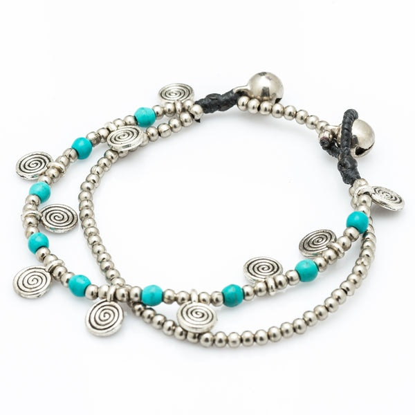 Turquoise Bead And Charm Double Strand Bracelets
