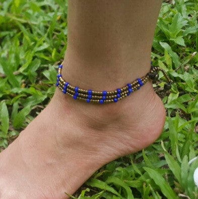 Hand Made Fair Trade Anklet Three Strand Brass Beads Blue