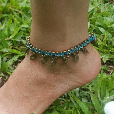 Hand Made Fair Trade Anklet Double Strand Brass Coins Turquoise