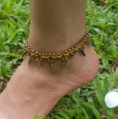 Hand Made Fair Trade Anklet Double Strand Brass Coins Gold