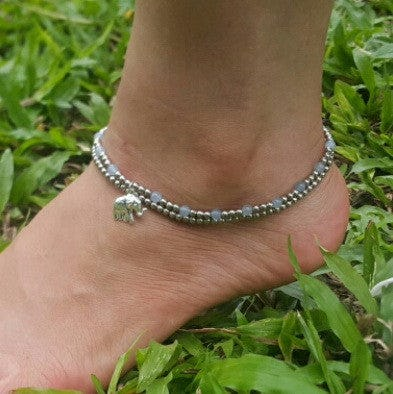 Hand Made Fair Trade Anklet Double Strand Silver Beads Grey Elephant