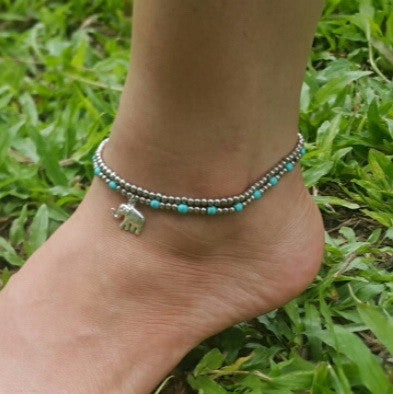 Hand Made Fair Trade Anklet Double Strand Silver Beads Turquoise Elephant