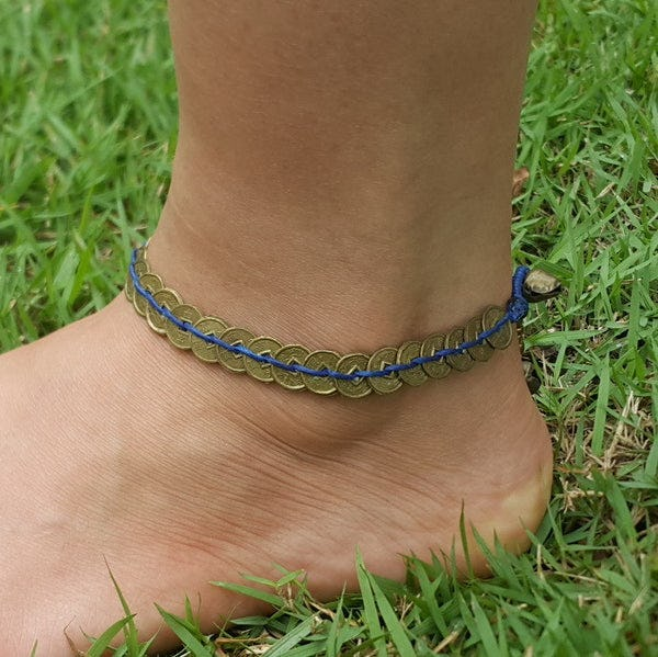 Hand Made Fair Trade Anklet Antique Coins Blue