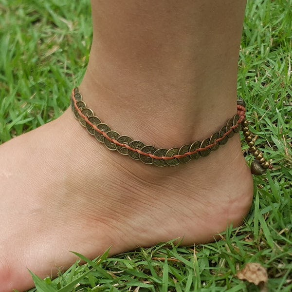 Hand Made Fair Trade Anklet Antique Coins Brown