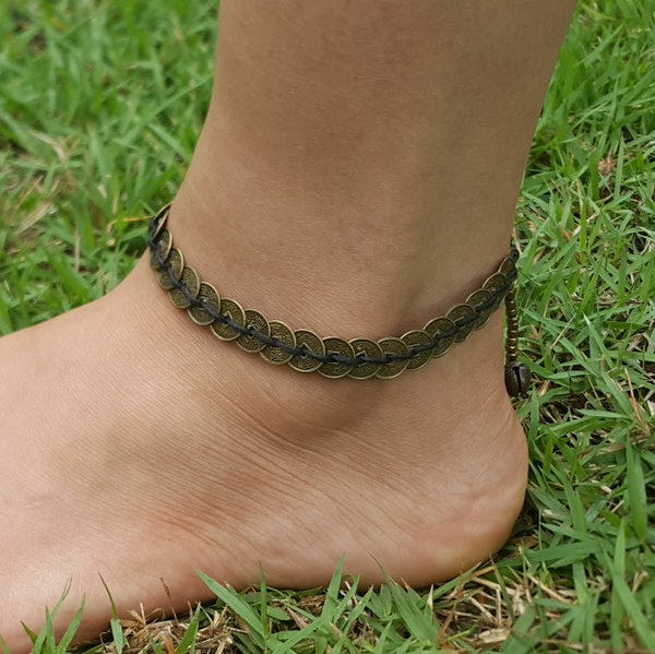 Hand Made Fair Trade Anklet Antique Coins Black