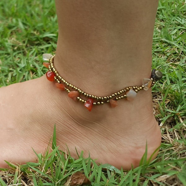Hand Made Fair Trade Anklet Double Strand Brass Beads Carnelian