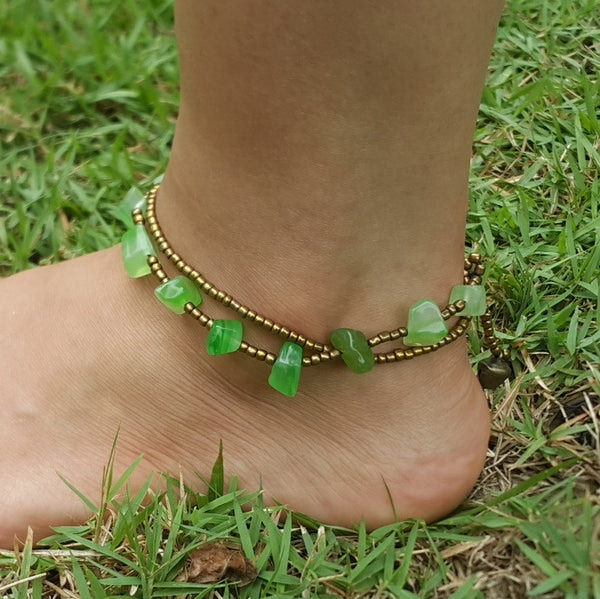 Hand Made Fair Trade Anklet Double Strand Brass Beads Malachite