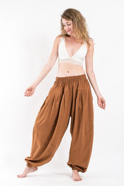 Genie Women's Cotton Harem Pants in Brown