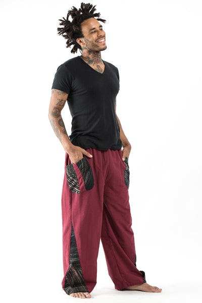 Thai Cotton Men's Pants With Hill Tribe Trim in Red