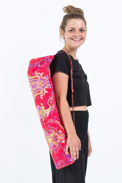 Neon Hippie Boho Canvas Yoga Mat Bag Red