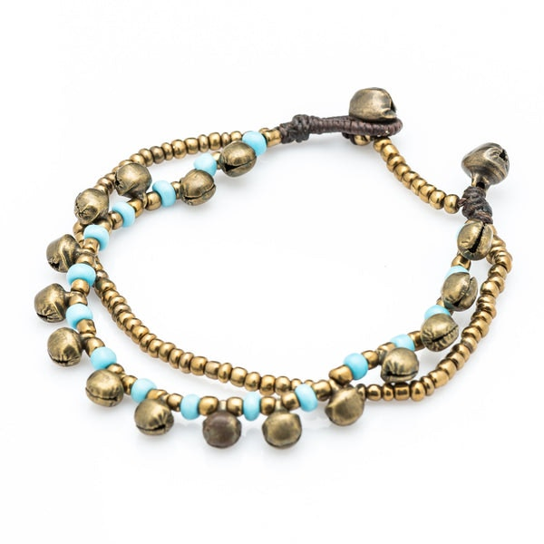 Brass Bell And Light Blue Bead Double Strand Bracelets
