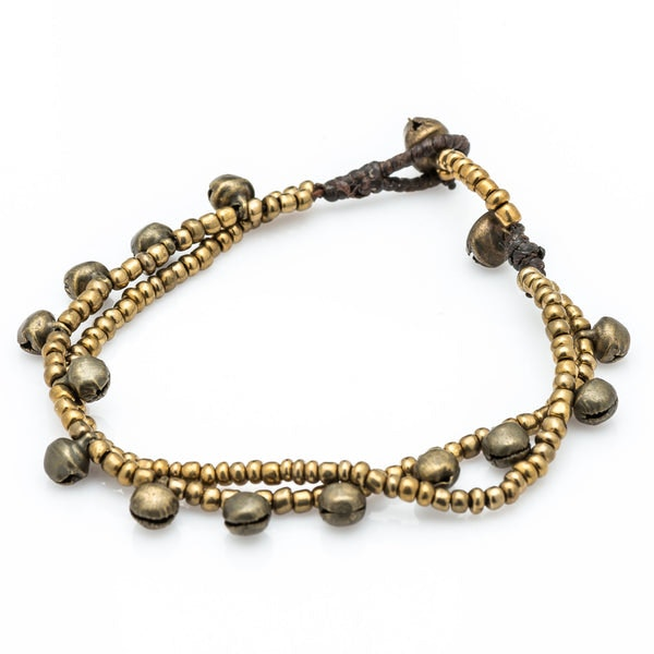 Brass Bell And Brass Bead Double Strand Bracelets