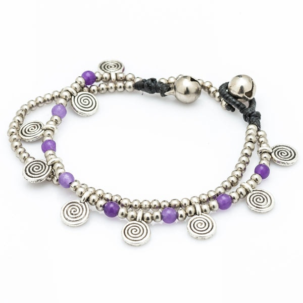 Violet Bead And Charm Double Strand Bracelets