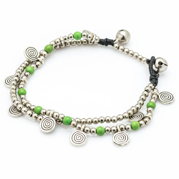 Lime Bead And Charm Double Strand Bracelets