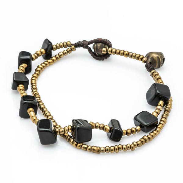 Brass Bead And Black Stone Double Strand Bracelets