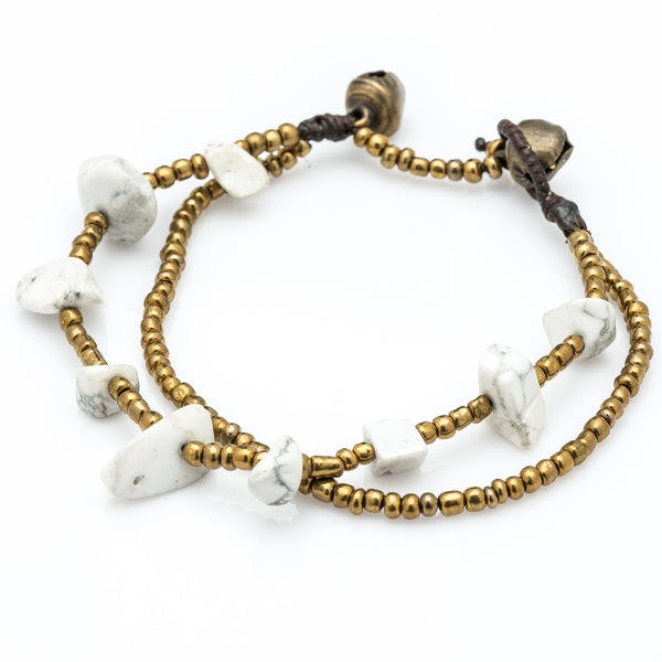 Brass Bead And White Stone Double Strand Bracelets