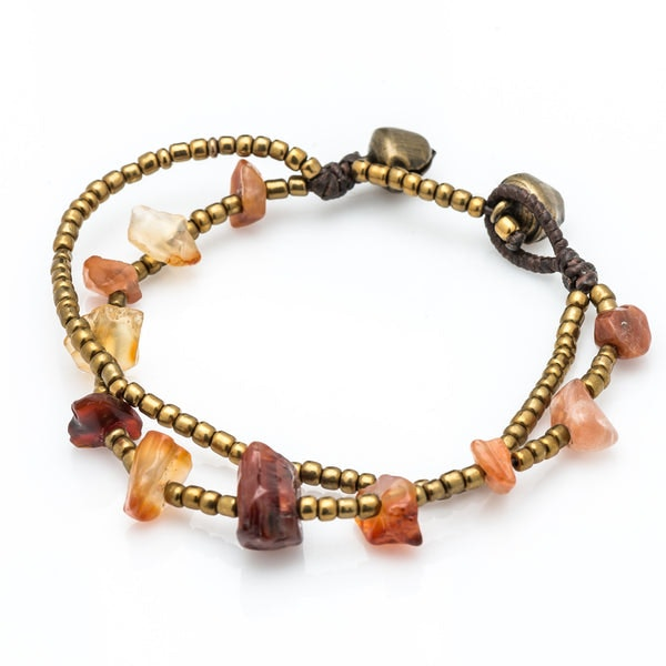 Brass Bead And Orange Stone Double Strand Bracelets