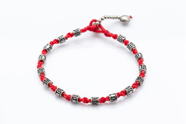 Hand Made Fair Trade Anklet Waxed Cotton Silver Beads Red