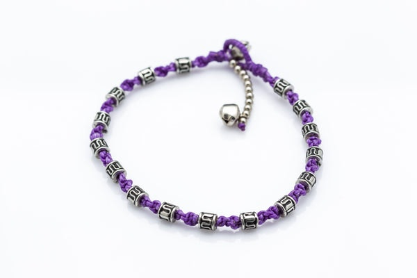 Hand Made Fair Trade Anklet Waxed Cotton Silver Beads Lavender