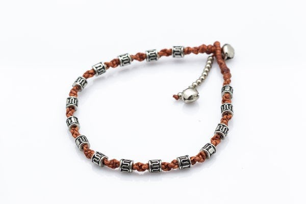 Hand Made Fair Trade Anklet Waxed Cotton Silver Beads Brown