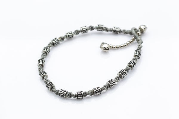 Hand Made Fair Trade Anklet Waxed Cotton Silver Beads Grey