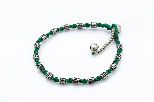 Hand Made Fair Trade Anklet Waxed Cotton Silver Beads Green