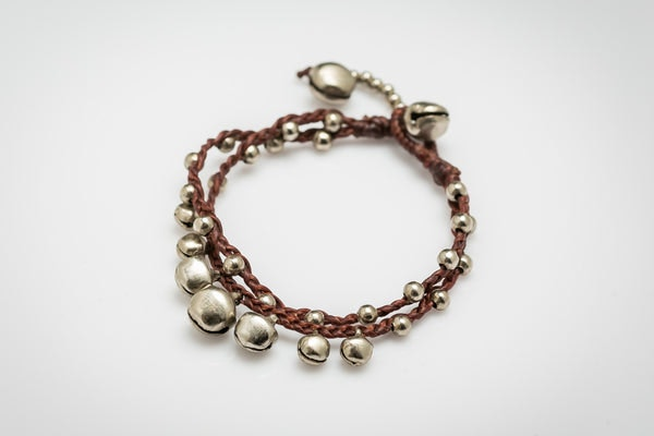 Silver Color Bell Waxed Cotton Bracelets in Brown