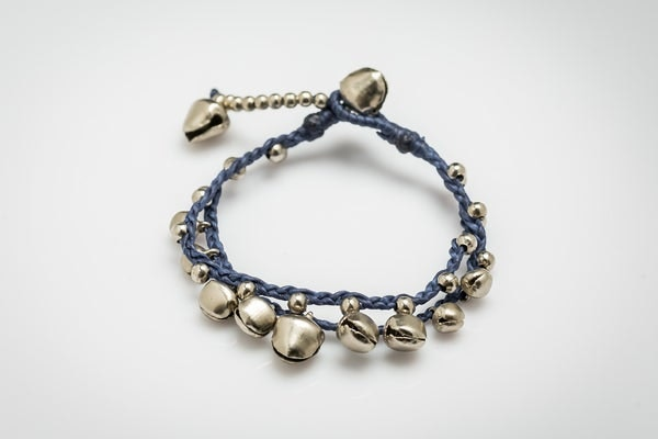 Silver Color Bell Waxed Cotton Bracelets in Blue