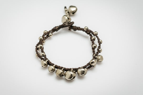 Silver Color Bell Waxed Cotton Bracelets in Chocolate