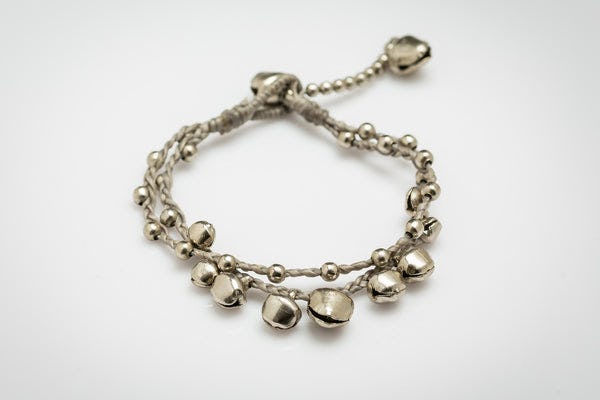 Silver Color Bell Waxed Cotton Bracelets in Gray