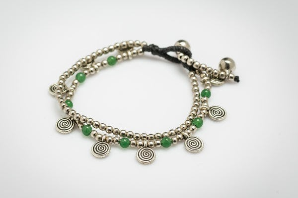 Green Bead And Charm Double Strand Bracelets