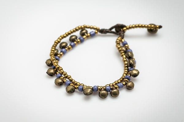 Brass Bell And Blue Bead Double Strand Bracelets