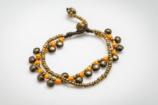 Brass Bell And Orange Bead Double Strand Bracelets