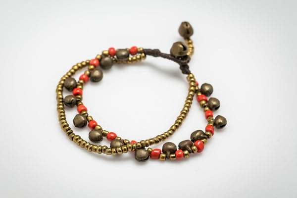 Brass Bell And Red Bead Double Strand Bracelets