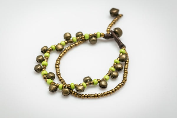 Brass Bell And Lemon Bead Double Strand Bracelets
