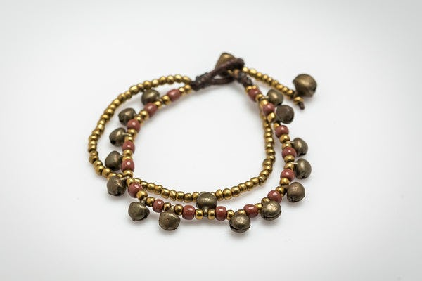 Brass Bell And Plum Bead Double Strand Bracelets