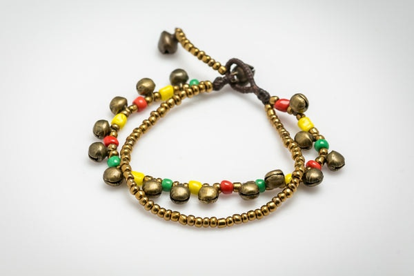Brass Bell And Multi Bead Double Strand Bracelets