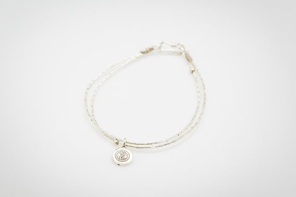 Fair Trade Thai Hill Tribe Silver Bracelet with Yin Yang Charm