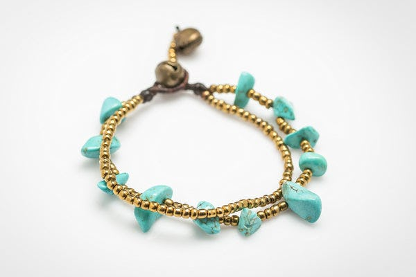 Brass Bead And Turquoise Stone Double Strand Bracelets