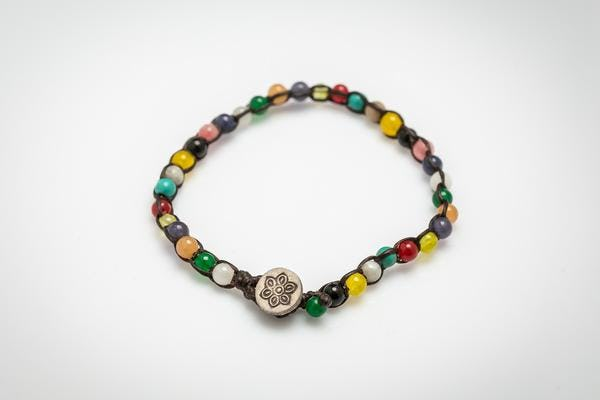 Fair Trade Thai Hill Tribe Silver Charm Beaded Bracelet Multi Color