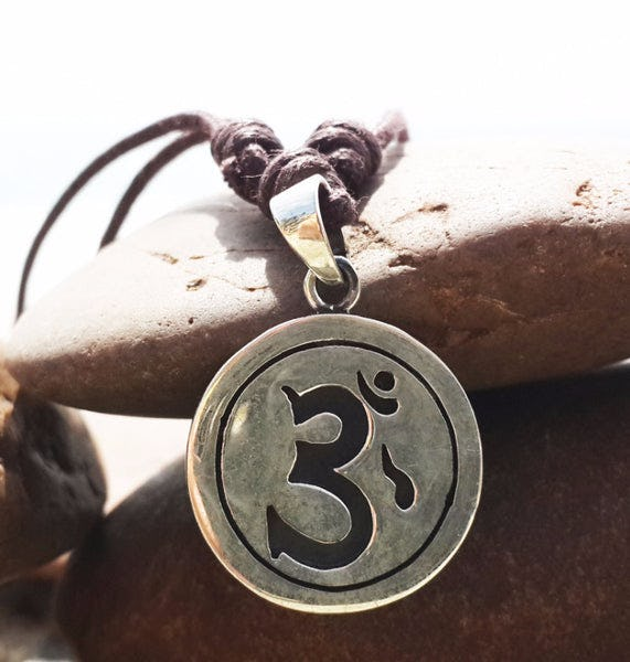 Sterling Silver Thai Necklace Pendant Etched Om