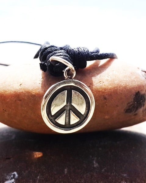 Sterling Silver Thai Necklace Pendant Solid Peace Circle