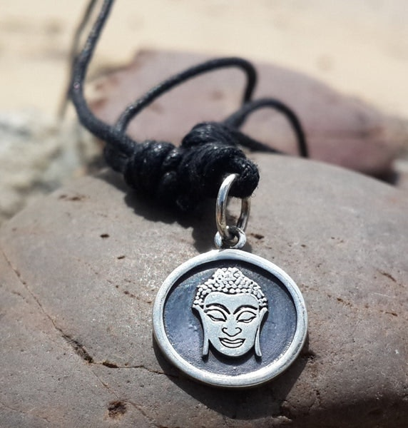 Sterling Silver Thai Necklace Pendant Solid Buddha Face