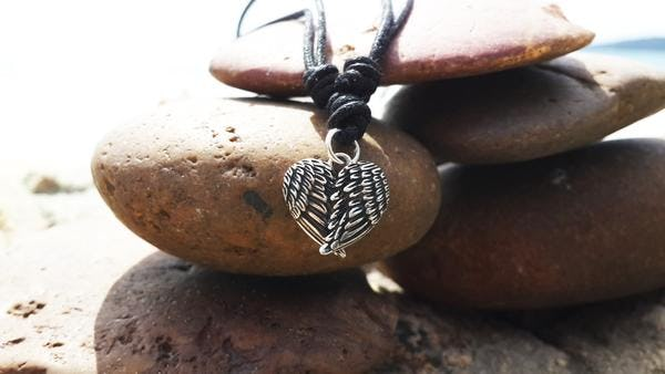 Sterling Silver Thai Necklace Pendant Feather Heart