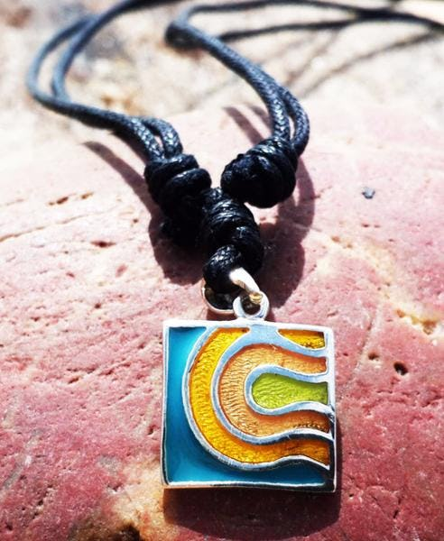 Sterling Silver Thai Necklace Pendant Abstract Coral