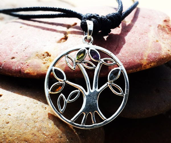 Sterling Silver Thai Necklace Pendant Tree Of Life Stones