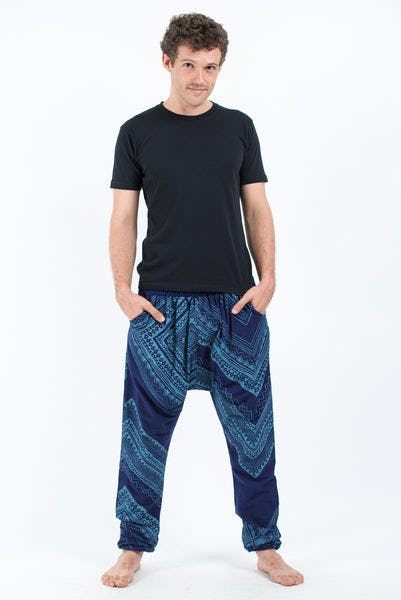 Diamonds Men's Slim Cut Harem Pants in Blue