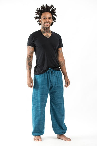 Drawstring Pinstripe Men's  Pants in Blue