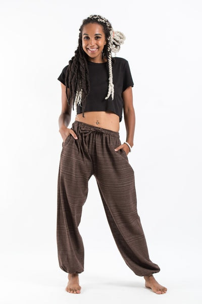 Drawstring Pinstripe Women's  Pants in Brown