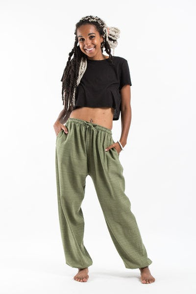 Drawstring Pinstripe Women's  Pants in Olive